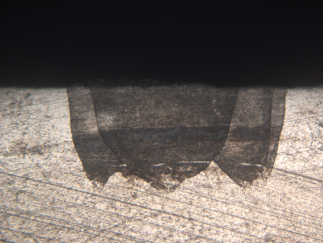 laser weld cross section; with wobble