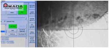 Vision system highlights laser tool path on monitor